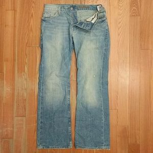 AE Men's Distressed Low Rise Bootcut Jeans 30x30